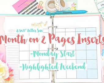 """8.5x11"""" Letter Size Month on 2 Pages Calendar Printable Inserts for 3-Ring Binder or BIG Happy Planner MO2P"""