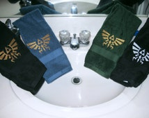 Legend of Zelda Inspired Royal Crest Embroidered Plush Hand Towel In Green, Aqua and Black with Gold or Silver