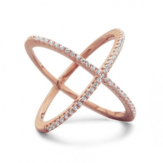18 Karat Rose Gold Plated Criss Cross 'X' Ring with Signity CZs