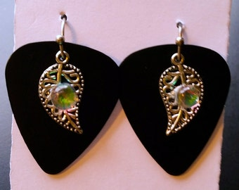 Really unique guitar pick and dichroic glass earrings won't find anywhere