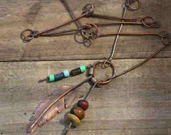 Rustic Earthy copper pendant necklace with handmade chain.