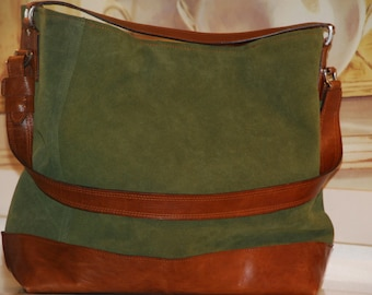 Bag in leather and ante-serraje. Genuine leather bag