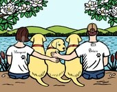 Yellow Labrador Family Print, Personalized Labrador Dad and Mom, Three Yellow Labs and Parents -- Labrador Family Lake Print 8 x 10