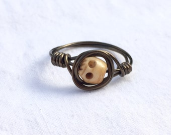 Handmade Skull Wire Wrapped Bronze Ring Size 12