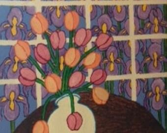 Tulips In White Vase