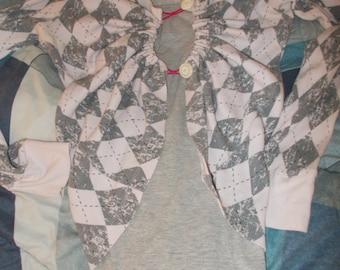Pink/Grey Cropped Cardigan