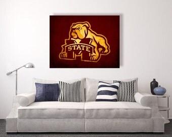 Mississippi state bulldogs vintage style Canvas Print, vintage football decor, college football logos, apartment decorating ideas, msu
