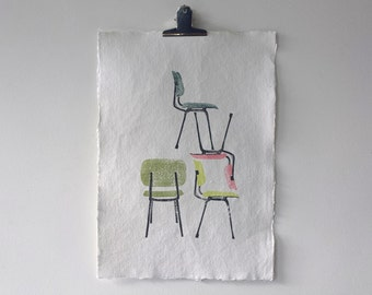 Wall art Midcentury Modern print of four Friso Kramer Chairs