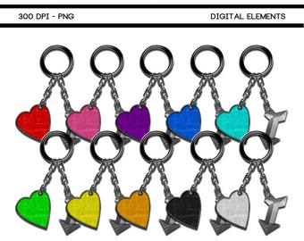 Printable Digital Scrapbook Keychain Elements 115A