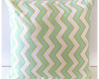Chevron teal and gold accent pillow