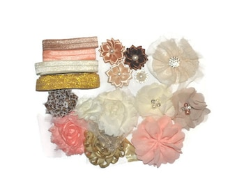 DIY Headband Kit, Peach & Gold Headband Kit, Small Kit, Makes 8 Headbands, Make Your Own Head Bands, Headband Supplies