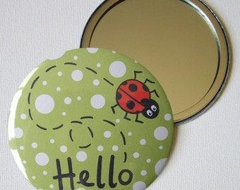 Large Ladybird 7.5cm Pocket Mirror/Make up Mirror/Compact Mirror/Handbag Mirror