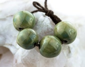 Olive green porcelain bead set-Ronnie's beads
