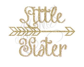 Little Sister Shirt DIY Iron On Digital Art Little Sister Matching Pink Gold Pregnancy Announcement