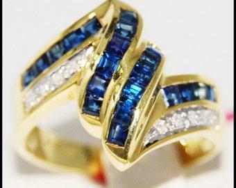 Wedding Diamond Gemstone 18K Yellow Gold Blue Sapphire Ring [RR024]