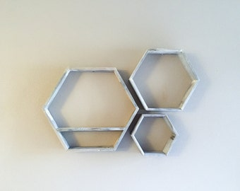 Reclaimed Honeycomb Hexagon shelves