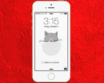 cute christmas iphone wallpaper - cell phone wallpaper, cat iphone lock screen, cute iphone background, digital wallpaper, screen saver