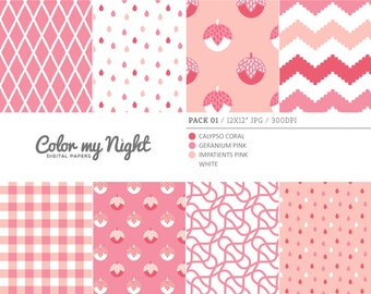 Digital Paper Pink 'Pack01' Chevron, Gingham, Drops, Fruits, Crosshatch & Abstract Backgrounds for Scrapbook, DIY Projects...