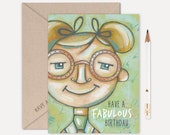 FABULOUS BIRTHDAY - Schoolgirl Birthday Card, Fashionista Notecard, Little Girl Birthday, Glasses, Cute Illustration, Pink, Green, Tween