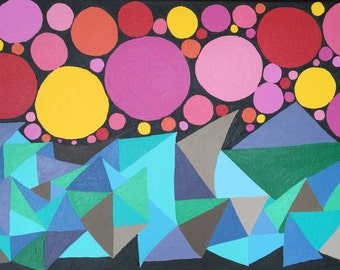 Fruit bowl, Acrylic, abstract art, painting, circles, triangles
