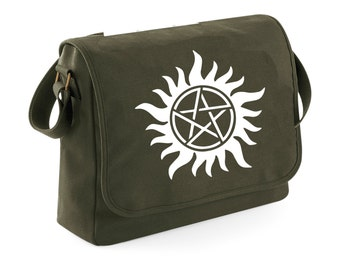 Sac messenger Supernatural - winchesters - piège à démons - messenger kaki