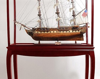 Hardwood Display Case Cabinet For Tall Ships Sailing Ships Scale Models 95cm