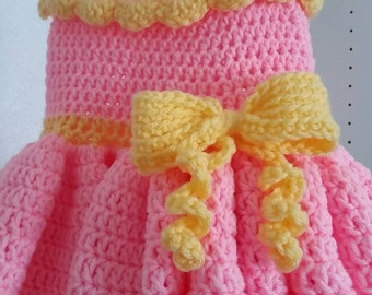 Handmade crochet poufy pink princess dress-12 months