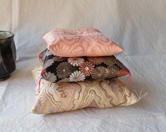 silk,cushion,small,kyoto,kimono,japanese,black,white,pink