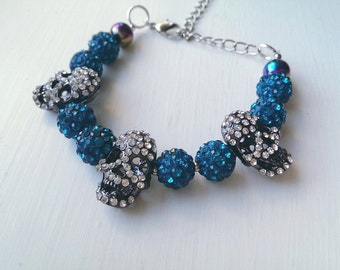 Teal Three Skull Bracelet.