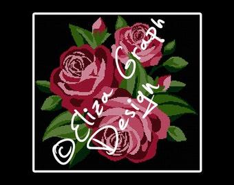 Rose Bouquet CROSS STITCH Pattern, CROCHET Graphghan Blanket Pattern