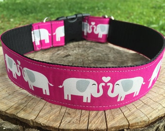 Pink Elephants Dog Collar - Elephant Dog Collar - Wide Dog Collar