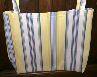 Large Yellow and Blue Striped Tote Bag