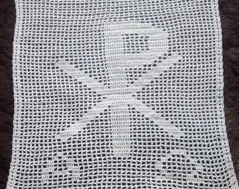 Chi-Ro Filet-Crocheted Doily