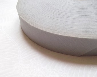 10 meters Pearl grey cotton bias tape 28 mm (by meter) / High quality