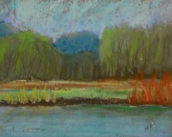 Pond at Finley Original Art Landscape Pastel Painting