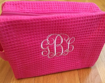 Monogrammed cosmetic bag - waffle weave