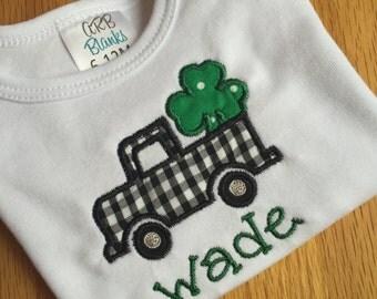 St. Patrick's Day shamrock truck applique onesie or shirt
