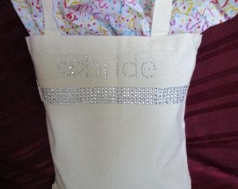 Bridal Personalized Bag, Wedding Bridal Tote, Personalized Bridal Bag, Sparkly Bridal Bag, Rhinestone Bridal bag, Personalized Canvas Bag