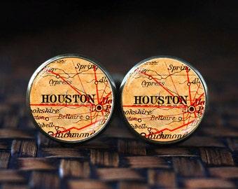 Houston map cufflinks, Houston cufflinks, Houston map jewelry, travel map cufflinks, map cufflinks, vintage map cufflinks