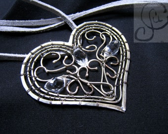 handcrafted necklace heart with crystals