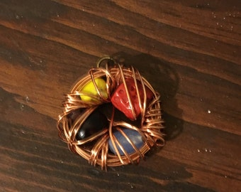 Wire Wrap Bird's Nest Pendant