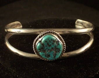 "Navajo Sterling Silver Turquoise Native American Cuff Bracelet, Size 6"", Jewelry. Free Shipping."