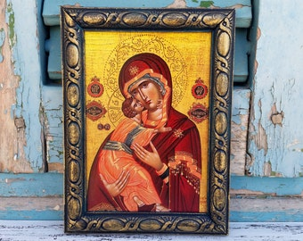 Baptism Gift Icon,Dark Green Carved Wood Frame Wall Decor,Religious Present,Saint St Mary Painting Byzantine Handcrafted Icon Decor
