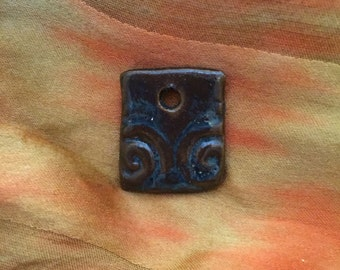 Handmade Ceramic Pendant or Tag, Glazed, Stoneware, Blue