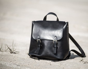 Small leather backpack, womens leather backpack, leather backpack women, womens rucksack, black leather backpack, leather womens bag