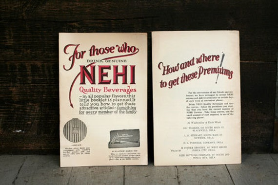 Vintage Nehi Premium Booklets - Ephemera - General Store - Altered Art - Mixed Media - Assemblage - Scrapbooking
