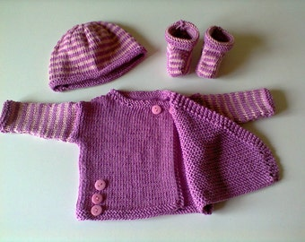 set cache-coeur, bonnet and booties: birth