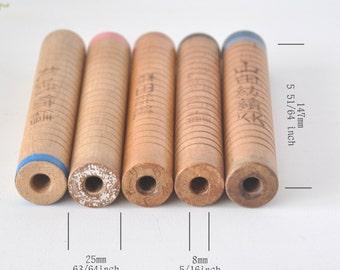 5 Japanese Industrial Wood Spools, wood bobbins