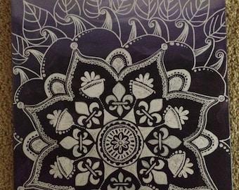 Deep Purple Henna design, canvas 16x20
