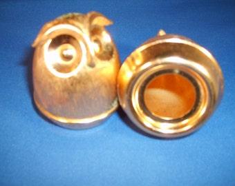 Vintage Brass Owl Salt and Pepper Shakers